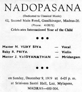 A pamphlet announcing Vijay Siva's concert for Nadopasana during the year 1979