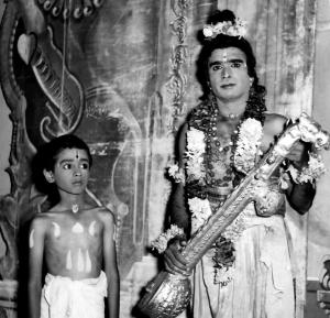 Vijay Siva in the role of Lakshminarayanan (son of Saint Raghavendra) in the play Mantralaya Mahaan. In the role of Narada is his father A.N.Siva.
