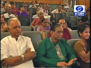 Sathya's mother Smt. Lalitha, paternal grandfather Shri K.T. Pathy and guru Dr Balamuralikrishna listen to his concert at Brahma Gana Sabha