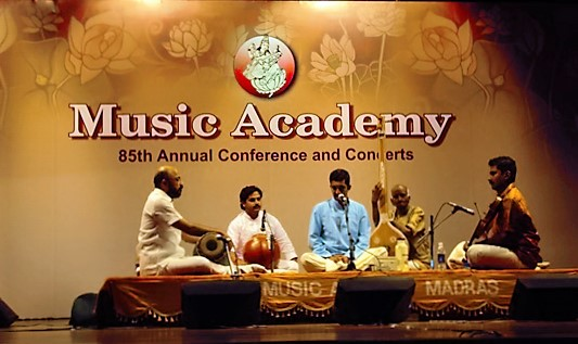 Arunachala Karthik performing at the Music Academy in December 2011, with Vechoor C. Shankar (Vocal), Konerirajapuram V. Varadarajan (Mridangam) and Vazhappally R. Krishnakumar (Ghatam)
