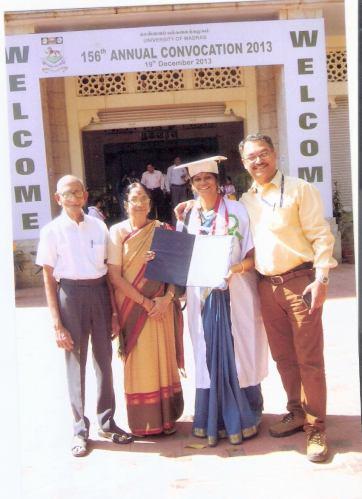 Nanditha Ravi with husband Vinod, mother Smt Rama Ravi and uncle Shri Shankar after receiving her doctorate