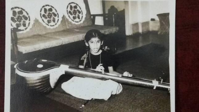 Little Nanditha practising with her tambura