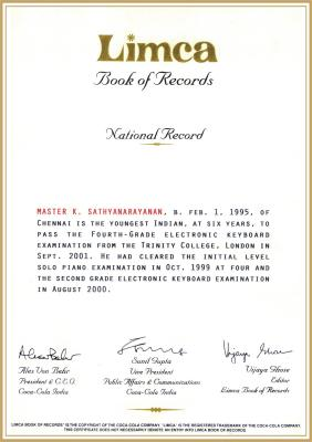 Keyboard Sathyanarayanan in the Limca Book of Records