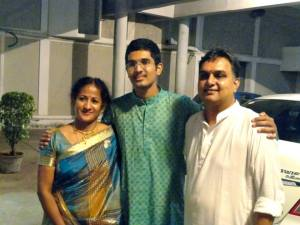 Keyboard Sathyanarayanan with his parents Shri Krishnababu and Smt. Lalitha after his 1000th concert (6th October 2013)