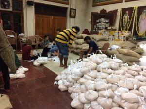 Vasundhra Rajagopal's photo of relief operations she is coordinating from Sringeri Pravachana Mandiram Hall