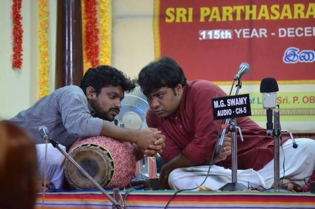 Akshay performing with Kunnakudi Balamuralikrishna on the mridangam at Sri Parthasarathy Swami Sabha