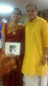 Amritha with her guru Shri Vittal Ramamurthy