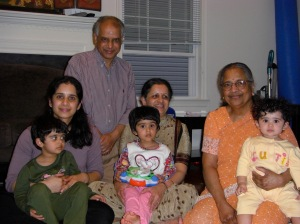 Vidya, her parents Smt. Vijaya and Shri Kalyanasundaram and her daughters with Smt. Bala Narasimhan